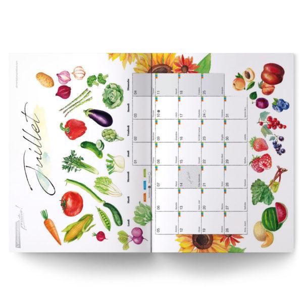 Poster de fruits et légumes du mois de juillet